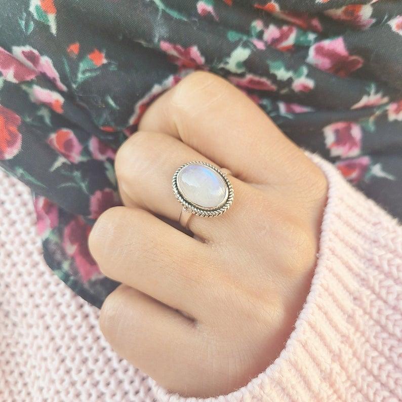 Genuine Moonstone Ring, Moonstone Silver Ring